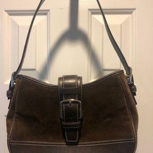 Coach Brown Suede & Leather Handbag